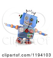 Clipart Of A 3d Happy Blue Robot Pretending To Be An Airplane Royalty Free CGI Illustration