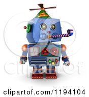 Clipart Of A 3d Blue Party Robot Blowing A Noise Maker Royalty Free CGI Illustration