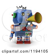 Clipart Of A 3d Blue Robot Announcing With A Megaphone Royalty Free CGI Illustration