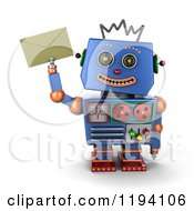 Clipart Of A 3d Happy Blue Robot Holding Up An Envelope Royalty Free CGI Illustration by stockillustrations