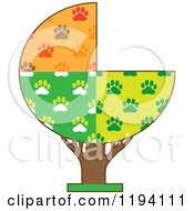 Tree With Seasonal Dog Paw Patterned Sections