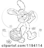 Cartoon Of Black And White Line Art Of A Bunny Rabbit Gathering Mushrooms Royalty Free Vector Clipart by Alex Bannykh
