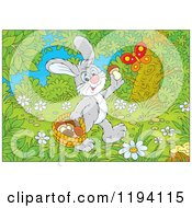 Cartoon Of A Butterfly Over A Happy Bunny Rabbit Gathering Mushrooms In The Woods Royalty Free Vector Clipart