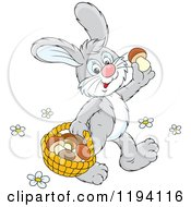 Cartoon Of A Happy Bunny Rabbit Gathering Mushrooms Royalty Free Vector Clipart