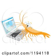 Cartoon Of A Shrimp Wearing Glasses And Working On A Laptop Royalty Free Vector Clipart