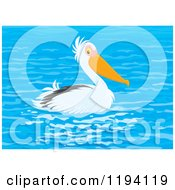 Cartoon Of A Cute Pelican Bird Swimming Royalty Free Vector Clipart by Alex Bannykh