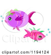 Pink And Purple Fish With Bubbles