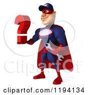 Clipart Of A 3d Super Hero Mechanic In Red And Dark Blue Holding A Question Mark 2 Royalty Free CGI Illustration by Julos