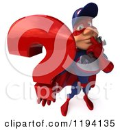 Clipart Of A 3d Super Hero Mechanic In Red And Dark Blue Holding A Question Mark Royalty Free CGI Illustration by Julos