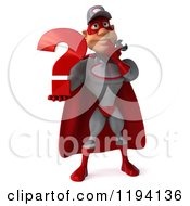 Clipart Of A 3d Super Hero Mechanic In Red And Gray Holding A Question Mark Royalty Free CGI Illustration by Julos