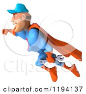 Clipart Of A 3d Flying Super Hero Mechanic In Red And Blue Royalty Free CGI Illustration