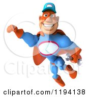 Clipart Of A 3d Flying Super Hero Mechanic In Red And Blue 2 Royalty Free CGI Illustration