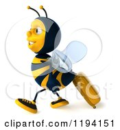 Clipart Of A 3d Bee Mascot Wearing Sunglasses And Pulling Luggage 2 Royalty Free CGI Illustration