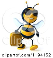 Clipart Of A 3d Bee Mascot Wearing Sunglasses And Pulling Luggage 3 Royalty Free CGI Illustration