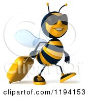 Clipart Of A 3d Bee Mascot Wearing Sunglasses And Pulling Luggage Royalty Free CGI Illustration