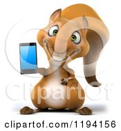 Clipart Of A 3d Happy Squirrel Holding A Cell Phone Royalty Free CGI Illustration by Julos