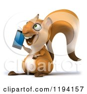 Clipart Of A 3d Happy Squirrel Talking On A Smart Phone Royalty Free CGI Illustration