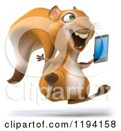 Clipart Of A 3d Happy Squirrel Jumping With A Cell Phone Royalty Free CGI Illustration