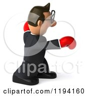 Clipart Of A 3d Business Toon Guy With Glasses And Boxing Gloves 4 Royalty Free CGI Illustration