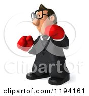 Clipart Of A 3d Business Toon Guy With Glasses And Boxing Gloves 2 Royalty Free CGI Illustration