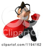 Clipart Of A 3d Business Toon Guy With Glasses And Boxing Gloves 3 Royalty Free CGI Illustration