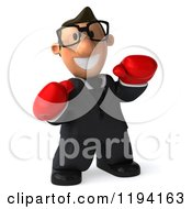 Clipart Of A 3d Business Toon Guy With Glasses And Boxing Gloves Royalty Free CGI Illustration