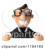 Clipart Of A 3d Business Toon Guy With Glasses Over A Sign Royalty Free CGI Illustration