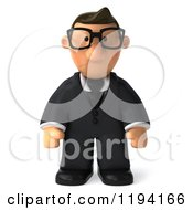 Clipart Of A 3d Business Toon Guy With Glasses And Pouting Royalty Free CGI Illustration