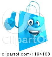 Clipart Of A 3d Happy Blue Shopping Bag Holding A Thumb Up Royalty Free CGI Illustration