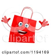 Clipart Of A 3d Happy Red Shopping Bag Jumping Royalty Free CGI Illustration