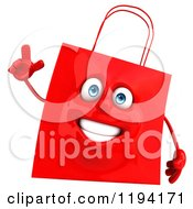 Clipart Of A 3d Happy Red Shopping Bag Holding A Hand Up Royalty Free CGI Illustration