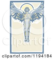 Clipart Of A Saint Michael The Archangel With A Sword In The Sky Woodcut Royalty Free Vector Illustration by xunantunich