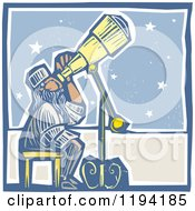 Astronomer Stargazing Through A Telescope Woodcut