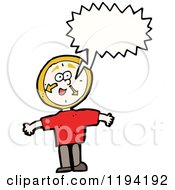 Cartoon Of A Man With A Clock Head Speaking Royalty Free Vector Illustration
