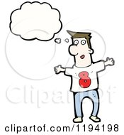 Cartoon Of A Thinking Man In A Team Shirt With The Number Eight Royalty Free Vector Illustration
