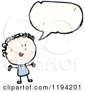 Cartoon Of A Stick Girl Speaking Royalty Free Vector Illustration