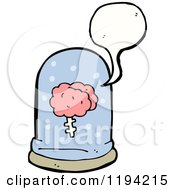 Cartoon Of A Brain Speaking In A Speciman Jar Royalty Free Vector Illustration