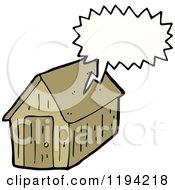 Cartoon Of A Shack Speaking Royalty Free Vector Illustration