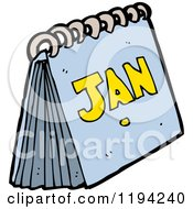 Cartoon Of A Calender And The Month Of January Royalty Free Vector Illustration