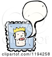 Cartoon Of A King On A Stamp Royalty Free Vector Illustration