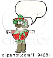 Cartoon Of A Mexican Man Speaking Royalty Free Vector Illustration by lineartestpilot