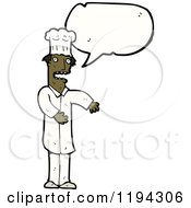 Cartoon Of A Black Chef Speaking Royalty Free Vector Illustration