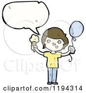 Cartoon Of A Boy Speaking And Holding A Baloon And An Ice Cream Cone Royalty Free Vector Illustration