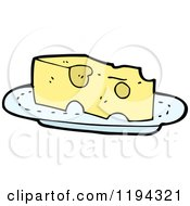 Cartoon Of Swiss Cheese On A Plate Royalty Free Vector Illustration