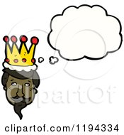 Cartoon Of A Black King Thinking Royalty Free Vector Illustration by lineartestpilot