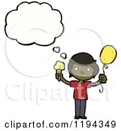 Cartoon Of A Black Boy Speaking And Holding A Baloon And An Ice Cream Cone Royalty Free Vector Illustration by lineartestpilot