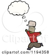 Cartoon Of A Black Boy Running And Thinking Royalty Free Vector Illustration by lineartestpilot