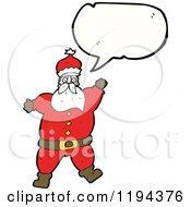 Cartoon Of A Santa Speaking Royalty Free Vector Illustration