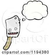 Cartoon Of A Butcher Knife Thinking Royalty Free Vector Illustration
