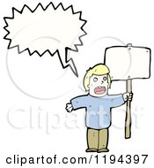 Cartoon Of A Man Holding A Sign And Speaking Royalty Free Vector Illustration
